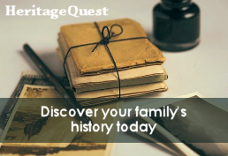 Bundle of old books with an ink well and pen captioned, Heritage Quest.  Discover your family's history today.