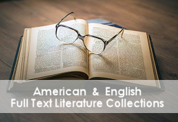 Open book on a wood table with eye glasses on top captioned American & English Full Test Literature Collections""