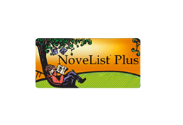 Cartoon man reading under a tree.  NoveList Plus