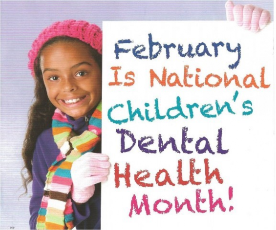 February is National Children's Dental Health Month poster