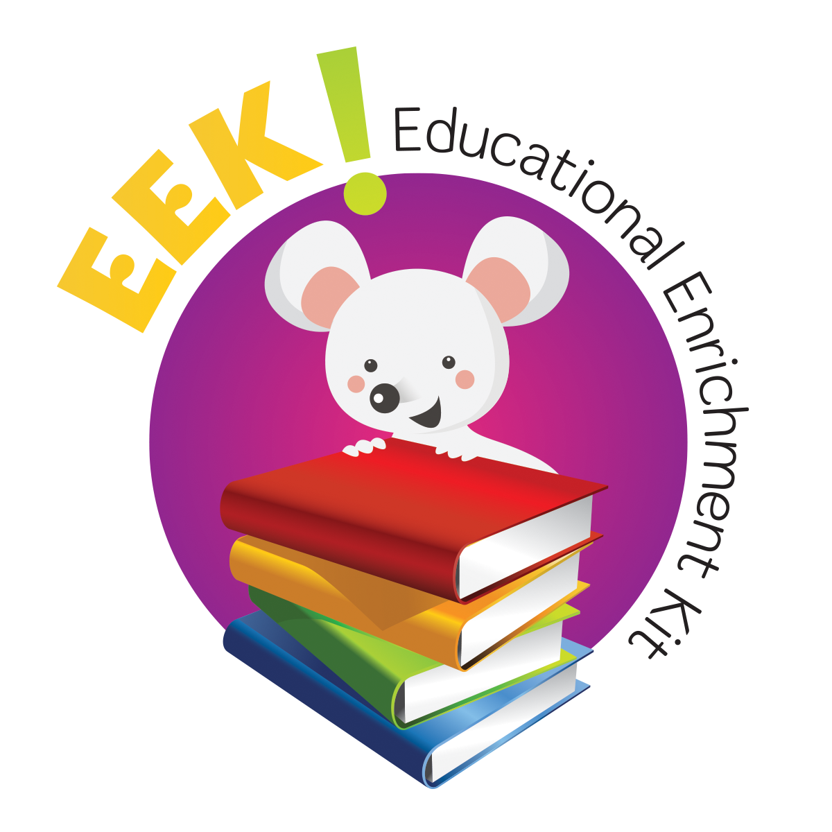 EEK! Educational Enrichment Kit logo of cute mouse sitting on a stack of books