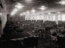 The main dining room aboard the Titanic, as seen soon before the vessel took off. 1912.