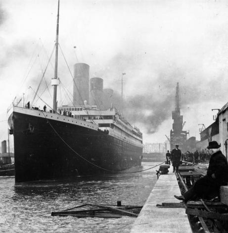 The Titanic sits at the dock in Southampton, England soon before setting off. April 10, 1912.